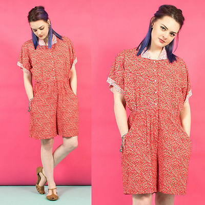 Womens Vintage 90's Red Ditsy Floral Patterned Collared Playsuit Romper 8
