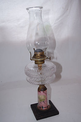 ANTIQUE REVERSE PAINTED MILLER OIL LAMP - YELLOW ROSE - VICTOR