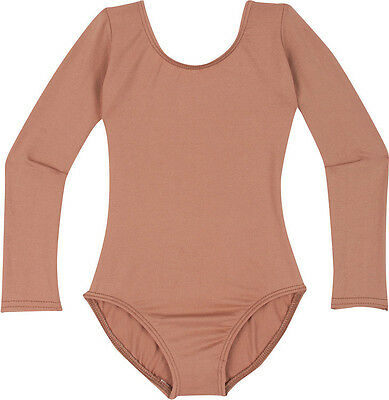 DARK NUDE - TAN - BEIGE Girls Long Sleeve Ballet Dance Leotard