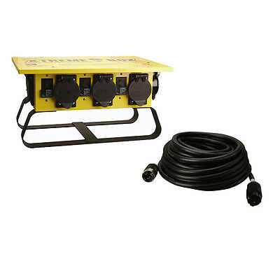 Coleman Cable 01970 50A Power Distribution Spider Box, 50' 6/3-8/1 Power Cord
