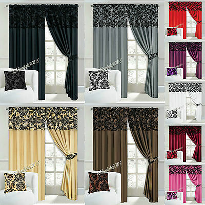 """Luxury Damask Window Curtains Pairs Of Half Flock Pencil Pleat In 90X90""""& 66X72"""