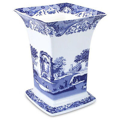 Blue Italian Spode Square Vase Earthenware Dishwasher Safe FREE Delivery NEW