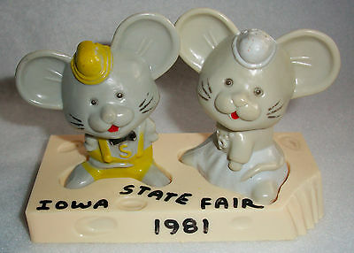 Vintage Iowa State Fair 1981 Mice Salt and Pepper Shakers REDUCED!