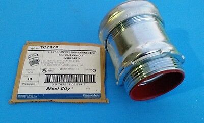 """Steel City TC717A Compression Connector 2 1/2"""" for EMT Conduit Insul (Lot of 8)"""