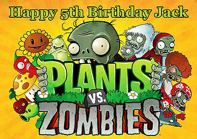 Plants Vs Zombies Cake Decoration icing sheet personalised Birthday Party
