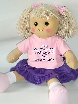Personalised Rag Doll Bridesmaid Flower Girl Wedding Gift Purple & Pink Outfit