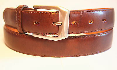 """Men's Casual Dress Solid Genuine Leather Brown Belt 1 1/4"""" Wide S M L Xl"""