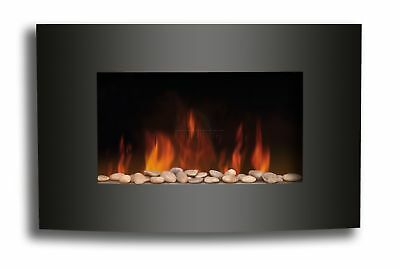 Electric Fireplace Black Curved Glass Heater LED Flame Effect 2KW Wall Mounted