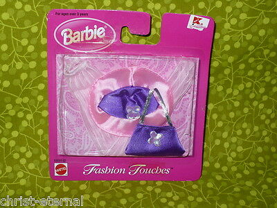 Barbie Doll FASHION TOUCHES 1998 Pink and Purple Tights HAT Clothing Purse Lot