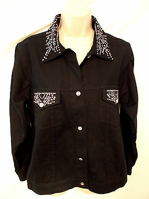 New Don't Mess With Texas Size M Black Denim Long Sleeves Rhinestones Jacket