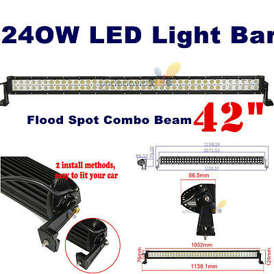 """240W 42"""" LED Light Bar Flood Spot Combo Work Offroad Driving Lamp Snow Plow Boat"""