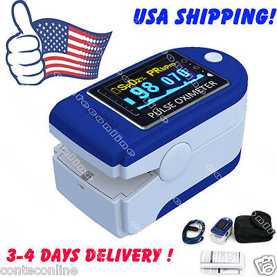 USA SHIPPING! CE&FDA OLED Pulse Finger Oximeter Blood Oxygen SPO2 Monitor,case