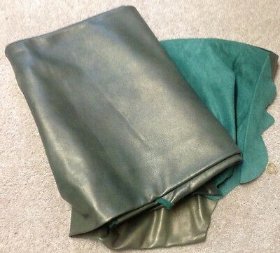 P2 Leather Hide Upholstery Fabric Gold Dust on Green 40 sq ft