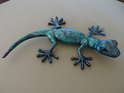 HANDCRAFTED PAINTED GECKO LIZARD ONE OF KIND UV PAINT IN OR OUTDOOR DECOR