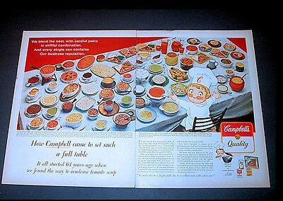 Original 1962 Campbell's Soup Print Ad   64 Different Products Two-Page Print Ad