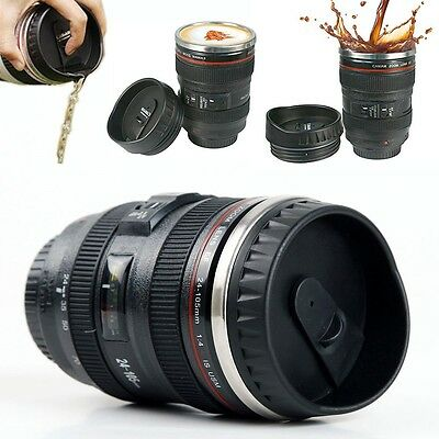 Camera Lens Cup 24-105 Coffee Tea Mug Stainless Steel Thermos & Lens Lid US