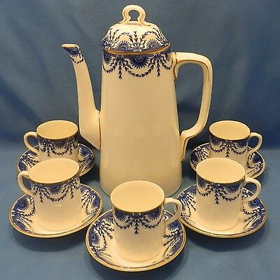 Royal Worcester antique (1895) coffee pot & 5 demitasse cups & saucers