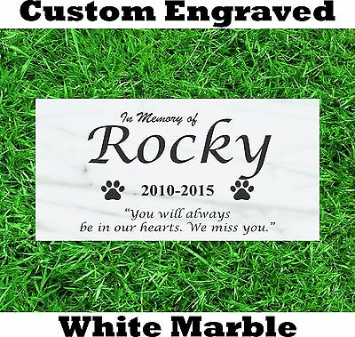 """Pet Memorial Headstone 6"""" x 12"""" Dog Cat grave marker White Marble Bloodhound"""