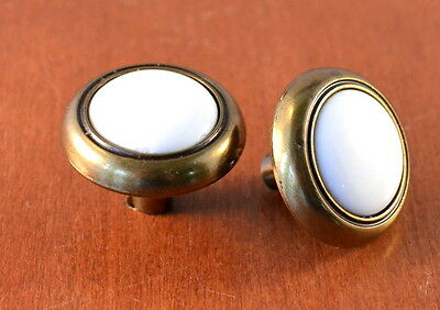 Set of 2 Vintage SOLID Brass & White Ceramic Furniture Knobs