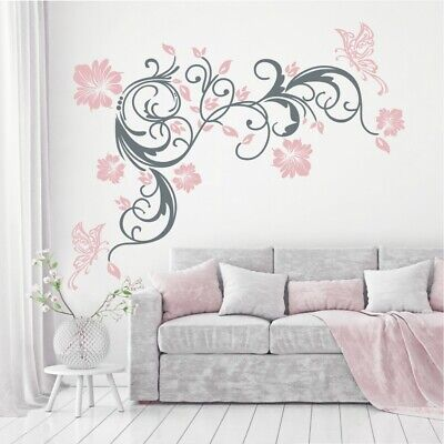 wandtattoo wandaufkleber blumen ranke 2 farbig schmetterlinge blumenranke 396 xl eur 31 41. Black Bedroom Furniture Sets. Home Design Ideas