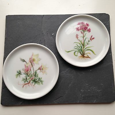 Vintage Kaiser F Coasters/Small Plates, 2 Rare Flower Designs W Germany