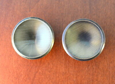 Set of 2 Vintage BRUSHED BRASS Concave Mid-Century Modern Furniture Knobs