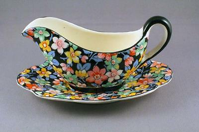 "CHARMING CROWN DEVON ""GLADNESS"" CHINTZ SAUCE BOAT AND STAND - PERFECT"