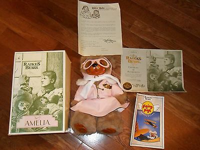 Raikes Bears Amelia limited edition numbered wood face In Original Box W/COA