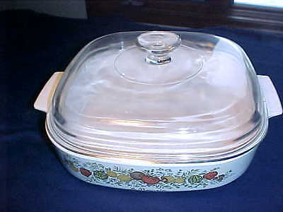 Corning Ware A-10-B Spice of Life Le Romarin w/ Clear Glass Pyrex Lid A-12-C EUC
