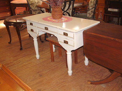 Primitive, Dove Tailed, Vintage Antique Rare Desk, Hall Table, Shabby Look Wood