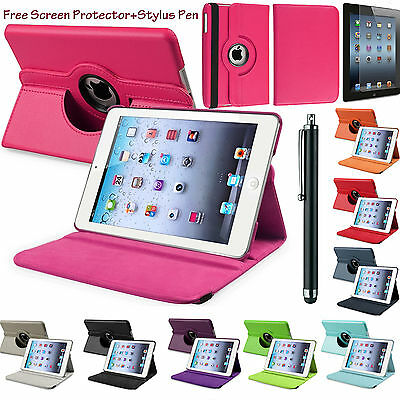 Leather 360°Rotating Smart Stand Case Cover For APPLE iPad 2/3/4 Air1,2 Mini Pro