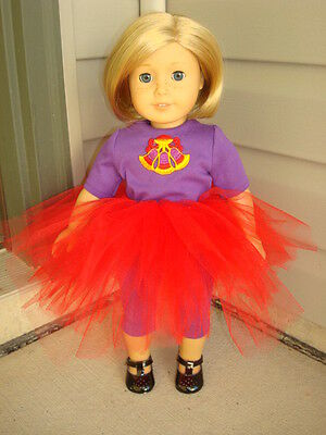 Handmade Doll Clothes fits/for 18 in. American Girl ~ Purple Red Tulle Skirt Set