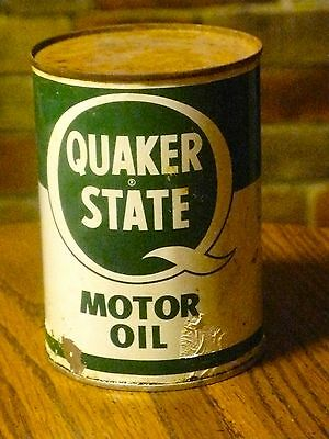 VINTAGE QUAKER STATE MOTOR OIL CAN 1 QT SEALED EMPTY  USA OIL CAN COLLECTIBLE