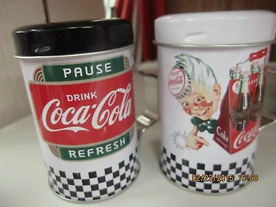 Coca-Cola Tin Salt & Pepper Shakers ( Pause & Refresh)  NEW- FREE SHIPPING