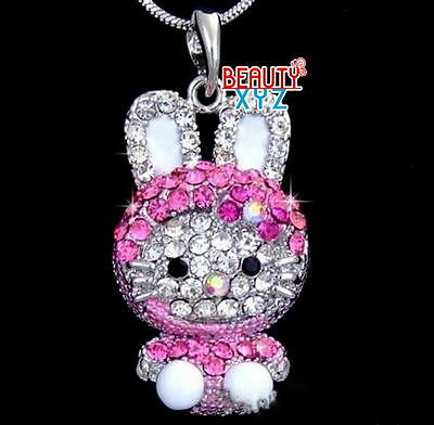 NEW Cute Pink Hello Kitty Necklace Silver Tone Crystals Pendant Chain Korean