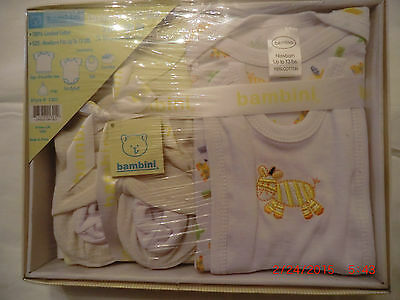 Bambini 5 Piece Gift Set 100% Combed Cotton Fits Newborn