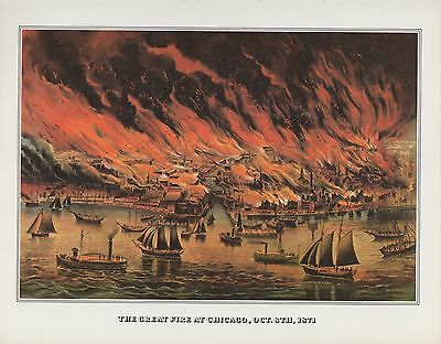 """1978 Vintage """"THE GREAT FIRE AT CHICAGO IN 1871"""" CURRIER & IVES COLOR Lithograph"""