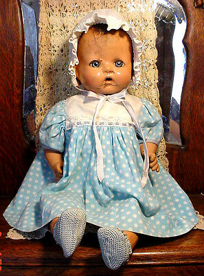 "Antique 1930s Large 18"" Mama Papa Horsman Composition Cloth Vtg Baby Doll/Repair"
