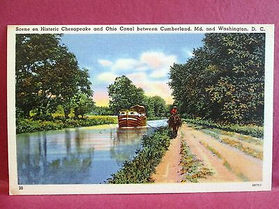 Postcard MD Historic Chesapeake and Ohio C&O Canal Cumberland and Washington DC