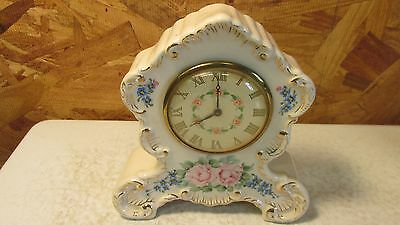 Antique Painted China Clock Roses