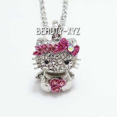 NEW PINK Bling Rhinestone Crystal Hello Kitty Movable Head Pendant Necklace #114