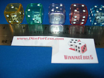 5 COLOR ACRYLIC DOUBLE DICE W/ WHITE PIPS AND 1 WHITE DICE W/ BLACK PIPS INSIDE