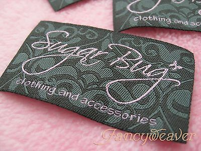 600pcs  Custom artwork woven Hem / Neck Clothing labels for Boutique,Tee,Polo