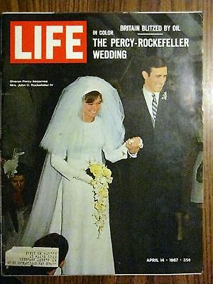 LIFE MAGAZINE APRIL 14 1967 THE PERCY ROCKEFELLER WEDDING BRITAIN BLITZED BY OIL