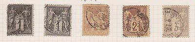 (T12-135) 1877-1900 France mix of 26 1c to 25c