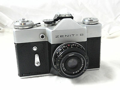 VINTAGE RUSSIAN USSR KMZ ZENIT-B 35mm SLR CAMERA INDUSTAR-50-2 LENS LEATHER CASE