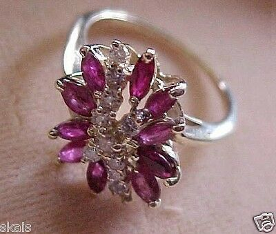 Estate 14k Solid Yellow Gold apx 1.00ct Ruby apx 0.30 Diamond Cocktail Ring M15