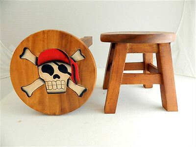 Childs Childrens Wooden Stool - Pirate Skull and Crossbones Step Stool