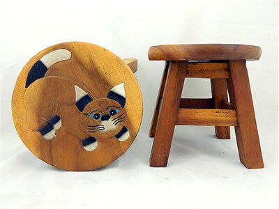 Childs Childrens Wooden Stool - Cat Step Stool