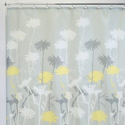 InterDesign Daizy Shower Curtain, Gray/Yellow